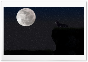 Wolf And The Full Moon HD Wide Wallpaper for Widescreen
