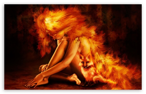 Woman and Fox Painting ❤ 4K UHD Wallpaper for Wide 16:10 Widescreen WHXGA WQXGA WUXGA WXGA ;