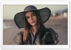 Woman Black Outfit Summer Ultra HD Wallpaper for 4K UHD Widescreen desktop, tablet & smartphone