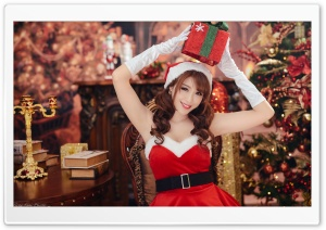 Woman Christmas Santa Dress Present Ultra HD Wallpaper for 4K UHD Widescreen desktop, tablet & smartphone