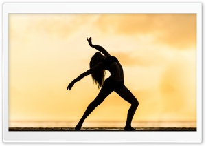 Woman Dancing Silhouette Contemporary HD Wide Wallpaper for 4K UHD Widescreen desktop & smartphone