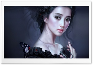 Woman In Black Painting HD Wide Wallpaper for Widescreen