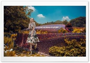 Woman in Dress, Golden Shoes, Mosaic Art Ultra HD Wallpaper for 4K UHD Widescreen desktop, tablet & smartphone