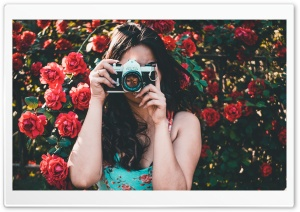 Woman in Floral Dress Taking a Picture Ultra HD Wallpaper for 4K UHD Widescreen desktop, tablet & smartphone