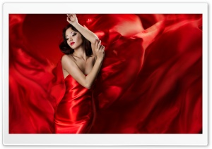 Woman In Red HD Wide Wallpaper for 4K UHD Widescreen desktop & smartphone