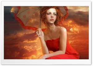 Woman In Red Dress Painting HD Wide Wallpaper for Widescreen