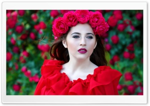 Woman in Red Dress, Red Roses Wreath HD Wide Wallpaper for 4K UHD Widescreen desktop & smartphone