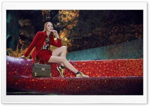 Woman in Red Suit, Golden Shoes, Mosaic HD Wide Wallpaper for 4K UHD Widescreen desktop & smartphone