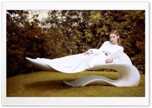 Woman In White Dress Relaxing Outdoor Lounge Ultra HD Wallpaper for 4K UHD Widescreen desktop, tablet & smartphone