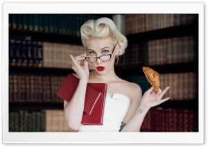 Woman, Library Books HD Wide Wallpaper for 4K UHD Widescreen desktop & smartphone