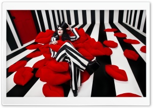 Woman, Red Lips Shape Pillows, BW Striped Walls Room HD Wide Wallpaper for 4K UHD Widescreen desktop & smartphone