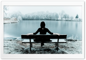 Woman Sitting Alone On A Bench HD Wide Wallpaper for Widescreen