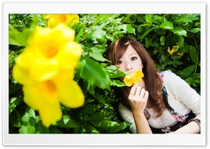 Woman Smelling A Flower HD Wide Wallpaper for 4K UHD Widescreen desktop & smartphone