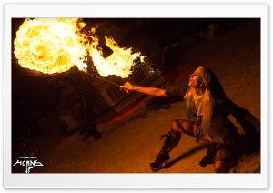 Woman Spitting Fire HD Wide Wallpaper for Widescreen