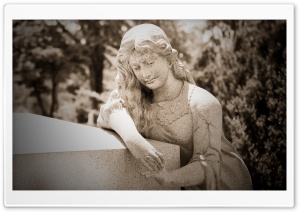 Woman Statue Cemetery HD Wide Wallpaper for 4K UHD Widescreen desktop & smartphone