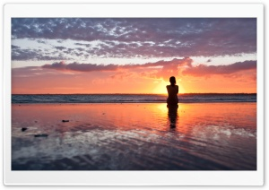 Woman Watching The Sunset HD Wide Wallpaper for Widescreen