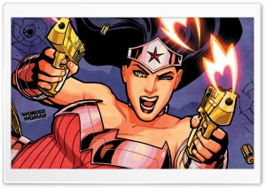 Wonder Woman Gunfight HD Wide Wallpaper for Widescreen