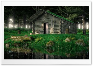 Wood Cabin In The Woods 3D HD Wide Wallpaper for 4K UHD Widescreen desktop & smartphone