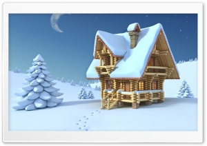 Wooden Chalet Winter 3D HD Wide Wallpaper for Widescreen
