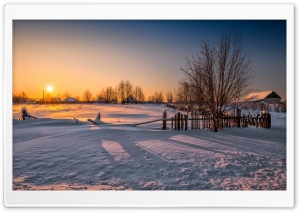 Wooden Fence In The Village Sunset HD Wide Wallpaper for Widescreen