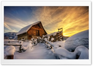Wooden House Under Snow HD Wide Wallpaper for 4K UHD Widescreen desktop & smartphone