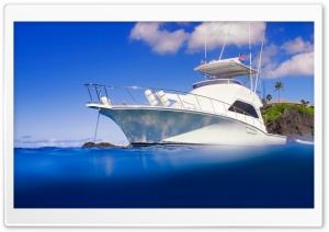 Yacht &amp; Clear Blue Ocean HD Wide Wallpaper for Widescreen