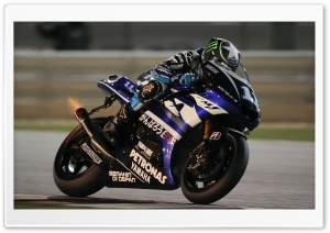 Yamaha Yzr M1 On Race Track HD Wide Wallpaper for Widescreen