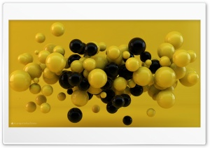 Yellow and Black Balls HD Wide Wallpaper for Widescreen