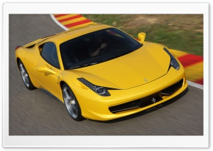 Yellow Ferrari 458 Italia   Front Angle HD Wide Wallpaper for 4K UHD Widescreen desktop & smartphone