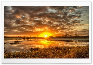 Yellow Field Sunset Pond HD Wide Wallpaper for Widescreen