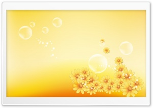 Yellow Flowers And Bubbles HD Wide Wallpaper for Widescreen