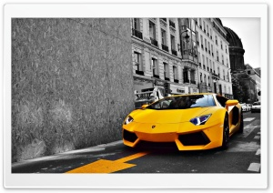 Yellow Lamborghini Aventador HD Wide Wallpaper for Widescreen