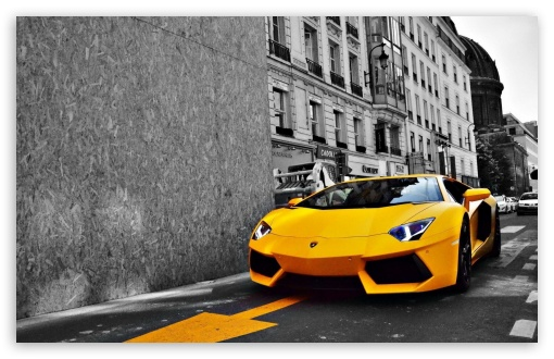 Download Yellow Lamborghini Aventador UltraHD Wallpaper