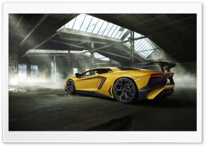 Yellow Lamborghini Aventador Sports Car HD Wide Wallpaper for 4K UHD Widescreen desktop & smartphone
