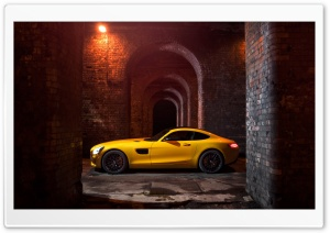 Yellow Mercedes-Benz SLS AMG HD Wide Wallpaper for 4K UHD Widescreen desktop & smartphone