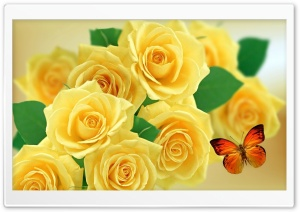 Yellow Roses and Butterflies HD Wide Wallpaper for Widescreen