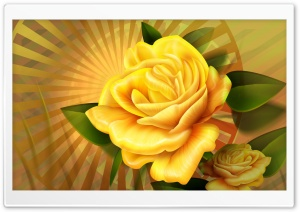 Yellow Roses Illustration HD Wide Wallpaper for Widescreen