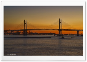 Yokohama Bay Bridge at Dawn HD Wide Wallpaper for 4K UHD Widescreen desktop & smartphone