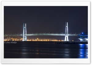 Yokohama Bay Bridge at Night HD Wide Wallpaper for Widescreen