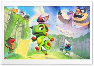 Yooka Laylee game, Chameleon Yooka, Bat Laylee HD Wide Wallpaper for Widescreen