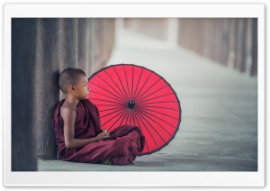 Young Buddhist Monk Meditating HD Wide Wallpaper for Widescreen