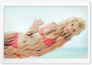 Young Woman Relaxing In A Hammock HD Wide Wallpaper for Widescreen