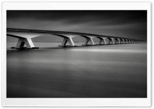 Zeeland Bridge Black and White Ultra HD Wallpaper for 4K UHD Widescreen desktop, tablet & smartphone