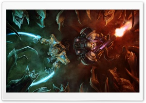 Zerg Ambush vs. Terran And Protoss HD Wide Wallpaper for Widescreen