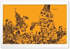 Zune Robots HD Wide Wallpaper for Widescreen