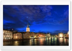 Zurich At Night, HDR Ultra HD Wallpaper for 4K UHD Widescreen desktop, tablet & smartphone